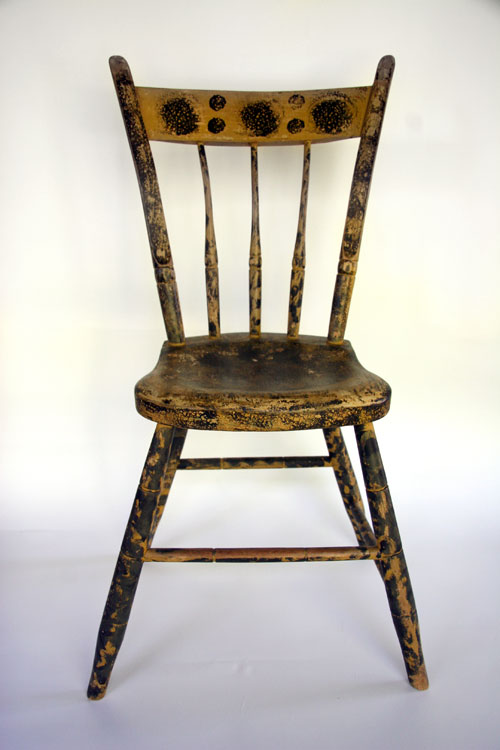 Signed A. Butler Painted Windsor Chair » - Antique American Furniture: Paint Decorated, Original Surface, And