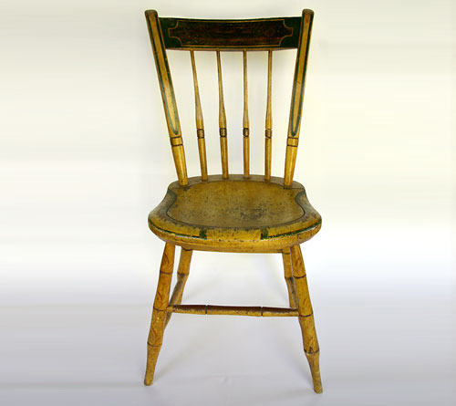 Signed Painted Mustard Windsor Chair: Stephen Kilburn, circa 1810,  Massachusetts - Signed Painted Antique Windsor Chair: Stephen Kilburn, Circa 1810