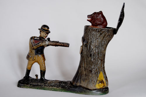 Teddy and The Bear Antique Mechanical Bank