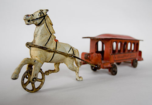 Wilkins Cast Iron Horse Drawn Broadway Lines Trolley Car  Circa 1890-1894