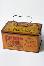 Antique American Advertising Tin Litho Pedro Smoking Tobacco Tin