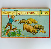 Circa 1900-1910 Antique American Board Game Milton Bradley Game of Troublesome Pigs