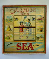Antique American Game: Across the Sea: 1910 Milton Bradley Sailor Boy in Blue, Girl in Red
