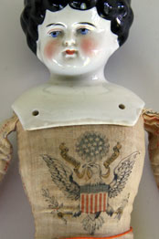 Early China Head Doll with Patriotic United States Linen Body