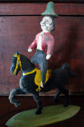Antique American Folk Art of Archie Zimmerman, carved polychromatic rider on horse