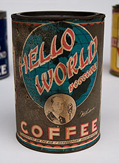 Early American Advertising Paper Label Coffee Can with Radio Show