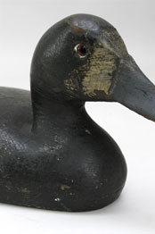 Early Lake St. Clair Bluebill Hen Duck Decoy Circa 1910 Hollow Bodied Bluebill Hen with Original Paint