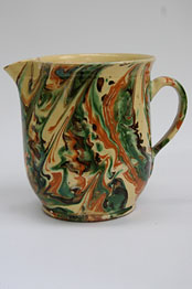 Redware Marbled Slip Milk Pitcher