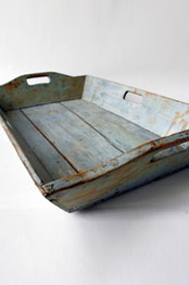 Original Blue Paint Early American Antique Apple Tray