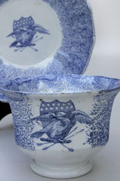 18th Century Spatterware Handleless Cobalt Cup and Saucer Set with Eagle Shield Decoration: Early Americana Patriotic Antiques