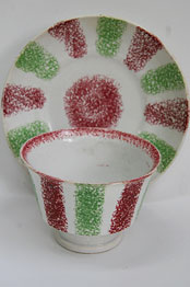 Antique Rainbow Spatterware Cup and Saucer