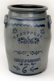 T. F. Reppert, greensboro, pa, 6 gallon salt glaze blue decorated stoneware crock
