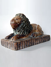 19th Century Folk Art Sewer Tile Lion Doorstop Dated 1892 Antique Paint Decorated American Antique