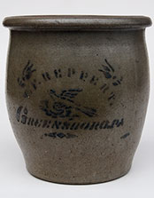 bird blue decorated antique Stoneware reppert cream crock
