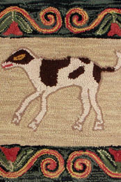 Spotted Dog & Red Tulips Hooked Rug »