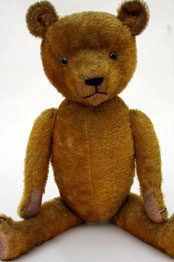 Large Antique Teddy Bear For Sale, Straw Filled, Button Eyes, Mohair