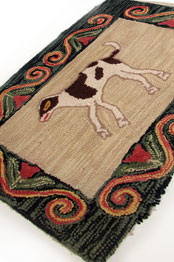 folk art spotted dog and red tulips hooked rug