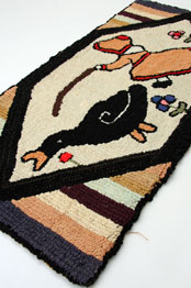 Girl with Goose Folk Art Hooked Rug