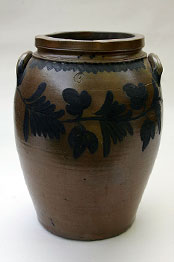 Cobalt Blue Decorated Semi-Ovoid Three-Gallon Storage Jar - Great Primitive Stoneware Jar