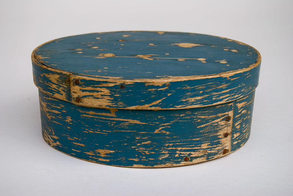 Original Blue Painted Oval Antique Pantry Box Dry Surface