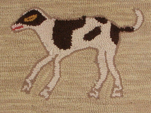 Dog Hooked Rug with Red Tulips