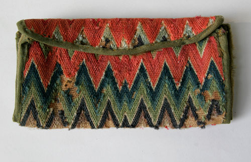 18th Century Antique American Flame Stitch Purse