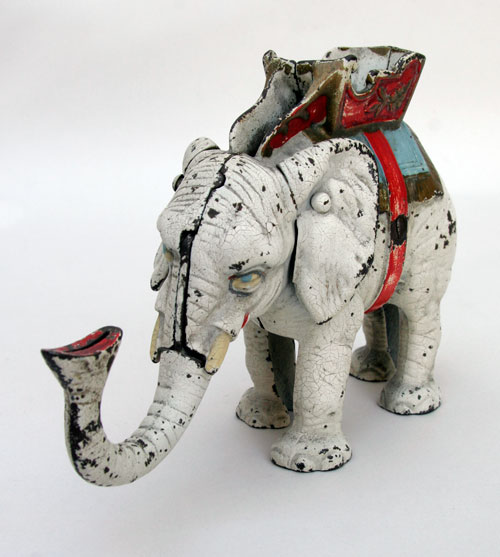 Hubley White Elephant Mechanical Bank