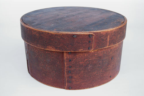 Red Painted Antique Pantry Box Oxblood Dry Surface Original Square Handmade Nails