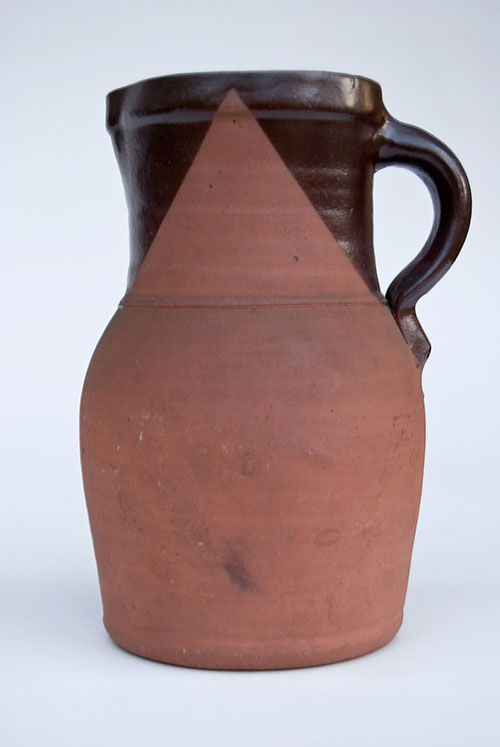 Pennsylvania Tanware Pitcher with Slip Glaze Decoration