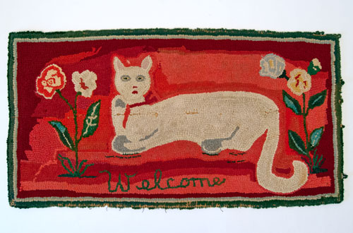 Antique American Hooked Rug Folk Art White Cat on Bold Red Ground with Flowers and Welcome