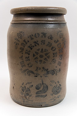 Hamilton and Jones Greensboro Pennsylvania Cobalt Decorated Salt Glazed 2 Gallon Stoneware Storage Jar with Center Star Motif