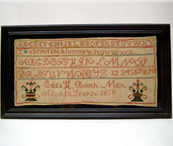 Antique American Needlework Rare Michigan Schoolgirl Sampler Signed and Dated For Sale