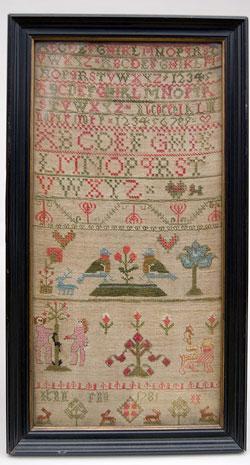 18th century 1781 adam and eve antique needlework sampler excellent