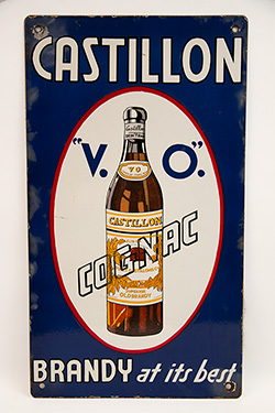 1940s Rare Single Sided Porcelain Castillion V.O. Congnac Sign