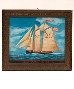 Patriotoic Americana Watercolor Folk Art Painting Racing Schooner Joseph Pulitizer New York 1896 American Flag Race Boat