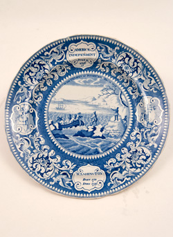 Historical StaffordshirePottery Platter Oxford Views Ridgway Blue and White 19th Century Ceramics