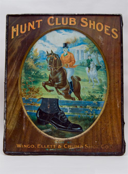 Antique Advertising Tin Sign for Hunt Club Shoes Meek Coschocton Ohio Horseman