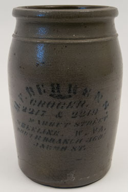 Antique Merchant Jar Blue Decorated Stoneware Berhens Wheeling West Virginia Pottery For Sale