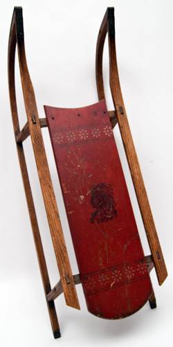 Antique American Polychromatic painted sled South Paris Maine Indian Decoration Original Surface