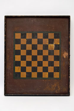 Antique Game Board  American Conneticut Checker Board in Original Paint