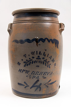 New Geneva PA 4 Gallon Cobalt Decorated Salt Glaze Stoneware Crock R. T. Williams