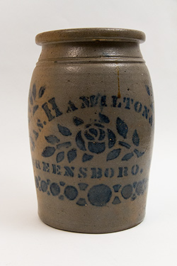One Gallon Antique American Stoneware Crock James Hamilton and Company Greensboro PA For Sale