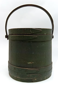 Antique Painted Wooden Sugar Bucket Firkin Country Primitive