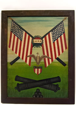 Patriotic GAR Oil on Canvas with Eagle, Flags, and Cannons: Antique American Folk Art Painting