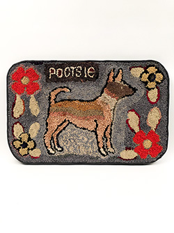 19th Century Antique American Folk Art Shirred Rug of Dog Named Pootsie