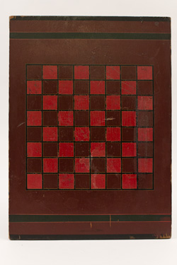 1930s 1940s Wooden Gameboard Painted Red Black Checkers Relief Carved Bold Graphic For Sale