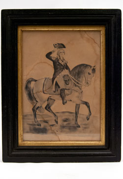 Folk Art George Washington Patriotic Americana Drawing mid 19th century. Pen and Ink Drawing Antique