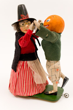 Antique Halloween Dancing Witch and Pumpkin Windup German Paper Mache Toy