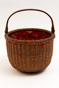 Antique Nantucket Basket Original Sewing Fabric Ferdinand Sylvaro Lightship Basket for Sale