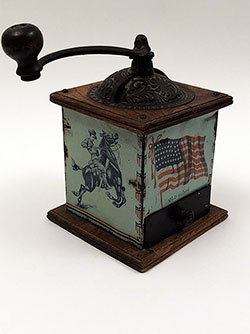 Antique Patriotic Americana Old Glory Coffee MIll With 45 Star Flag Theodore Roosevelt Rough Riders on Horseback For Sale From Z and K Antiques